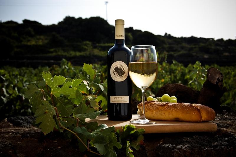Auf dem Foto sieht man ein Glas mit Zefiro-Wein, die Flasche und den Weinberg, aus dem die Trauben für ihn stammen: Zibbibo, die Königin von Pantelleria. (Foto: Vinisola)