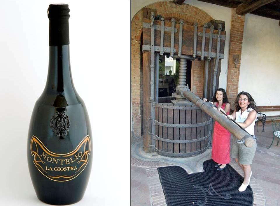 Links: La Giostra, der Müller-Thurgau-Wein in der typischen Anadima-Flasche. Rechts: Caterina und Giovanna Brazzola an ihrer historischen Presse. Das große M steht für Montelio.