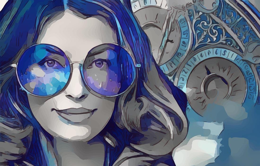 """Frau mit Durchblick mit großer runder Brille in Blau. Illustration für Buch-Rezension und Artikel """"Mein 2022 im Zeichen von Achtsamkeit und Selbstfürsorge"""" von Katrin Walter - simply walter"""