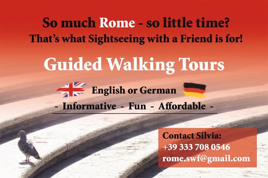 Rom entdecken mit Silvia – Touren auf Deutsch oder Englisch. Mehr Infos unter Telefon +39 333 708 0546.