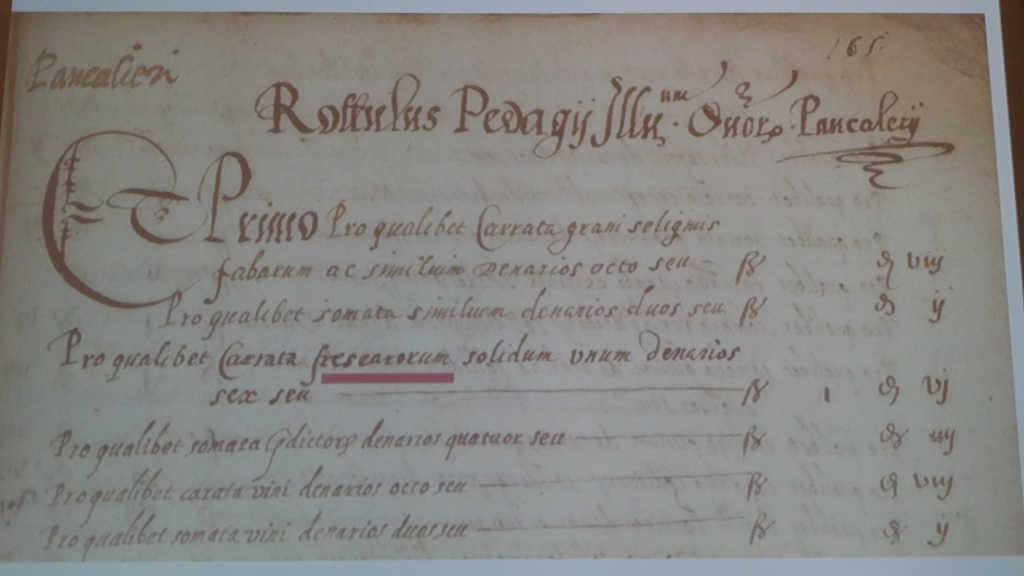 Kopie eines Dokuments, das bezeugt, dass es den Freisa-Wein bereits 1517 gab. Foto: Katrin Walter - simply walter