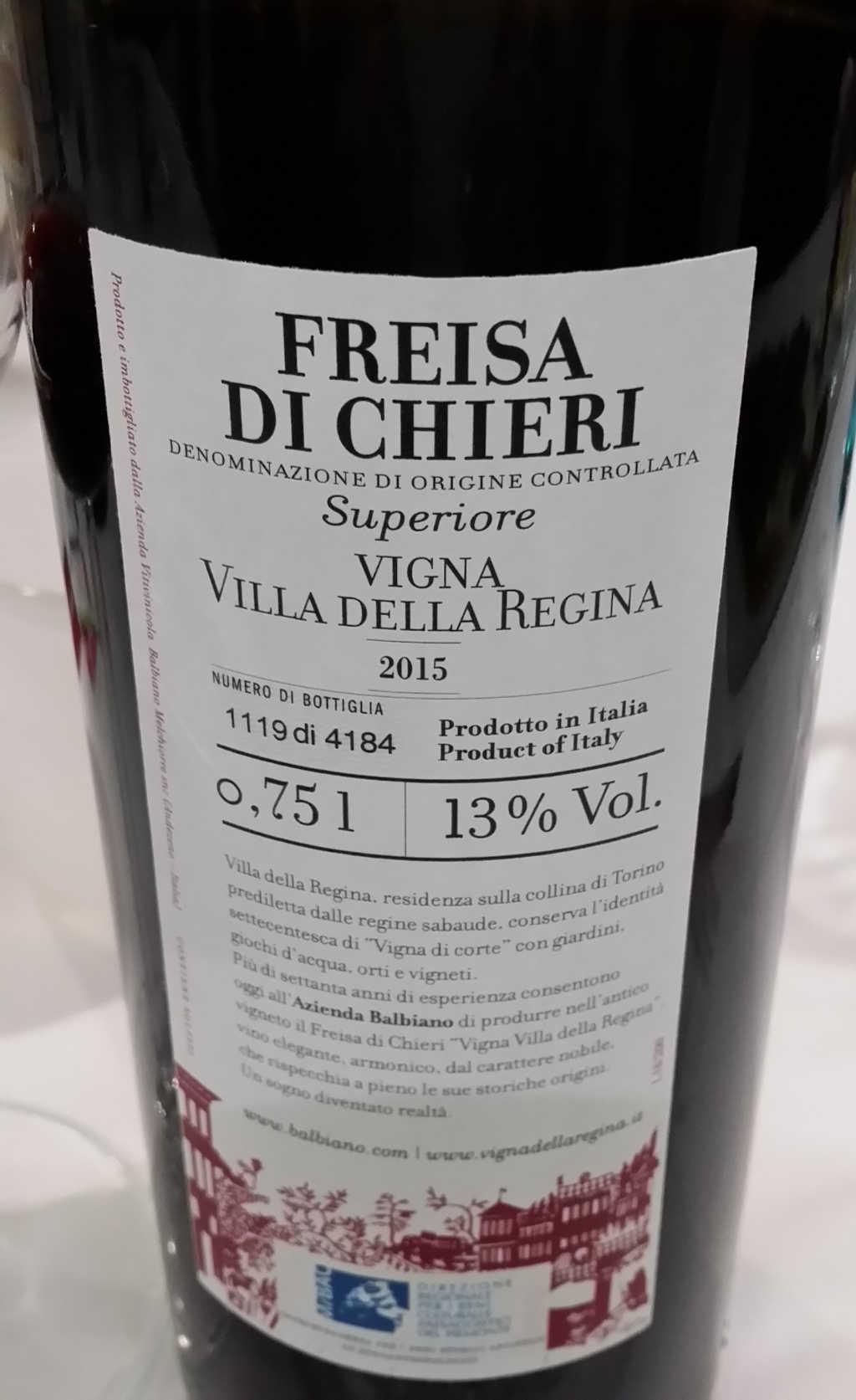 Etikett hinten des Freisa di Chieri DOC Vigna Villa della Regina - Foto Katrin Walter - simply walter