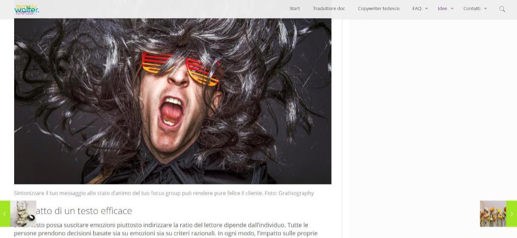 Esempio di uno degli articoli in italiano su simplywalter.com. Foto di Katrin Walter sul sito tedesco simplywalter.biz