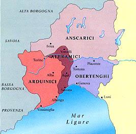 Karte von Piemont und Ligurien im 10. Jh. n. Chr. eingeteilt in Marken. Die Obertenghi (Marca Obertenga) reichte von Genua bis Piacenza, das heutige produktionsgebiet des Timorasso