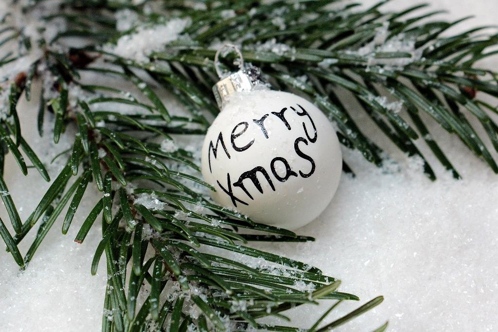 Mit einem Tannenyweig im Schnee und einer Kugel mit Merry Xmas wünscht simply walter frohe Weihnachten