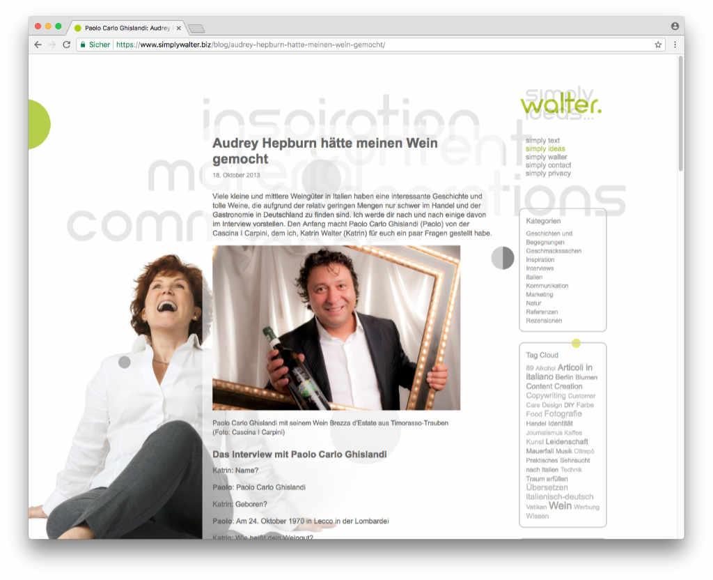 Screenshot eines Blogartikels auf simplywalter.biz/blog. Auch nach dem Relaunch bleiben alle Artikel bestehen.