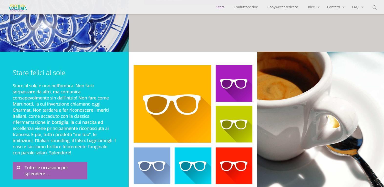Un dettaglio della home del sito simplywalter.com, dove ora escono tutti gli articoli in italiano per te (Katrin Walter)