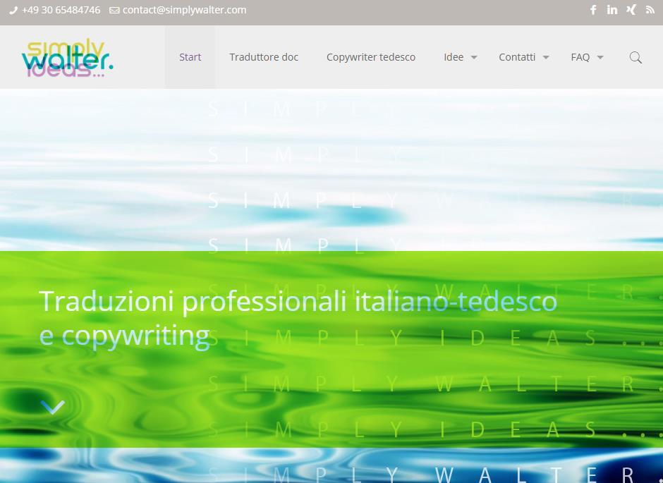 Tutti i nuovi articoli in italiano trovi ora sul nuovo sito simplywalter.com - In foto: screenshot della homepage (Katrin Walter)