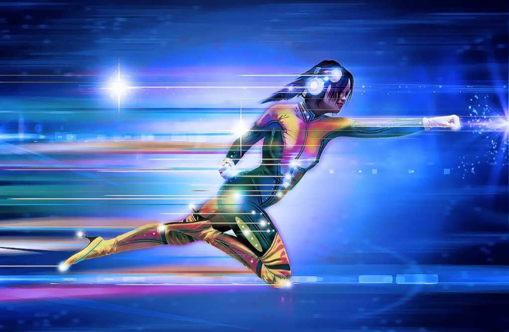 Eine Frau fliegt mit Kraft und unwahrscheinlicher Geschwindigkeit durch den Raum als Superheldin der Gig Economy. Illustration zum Artikel von Katrin Walter auf simplywalter.biz (Foto: Pixabay)